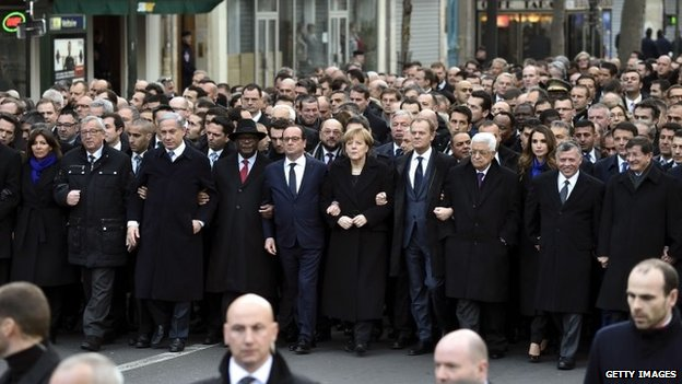 "World leaders attend the ""Marche Republicaine"" in Paris, France 11 January 2015"