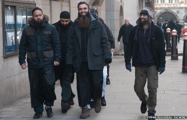 Mushier Raman, Yusuf Basher, Mohammed Laager and Minim Abdul arriving at the Old Bailey in London