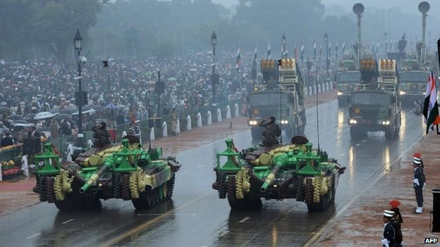 Indian military vehicles and missile launching systems are displayed during the nation's Republic Day parade on Rajpath in New Delhi on January 26, 2015.