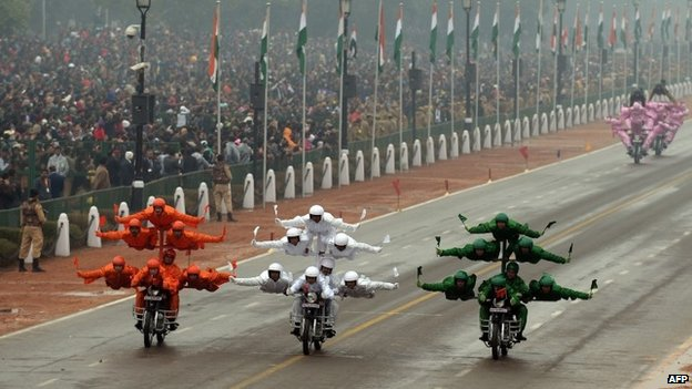 Indian Border Security Force (BSF) motorcycle specialists perform during the Republic Day parade