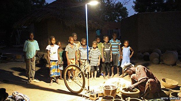 Solar-powered street light in Mali