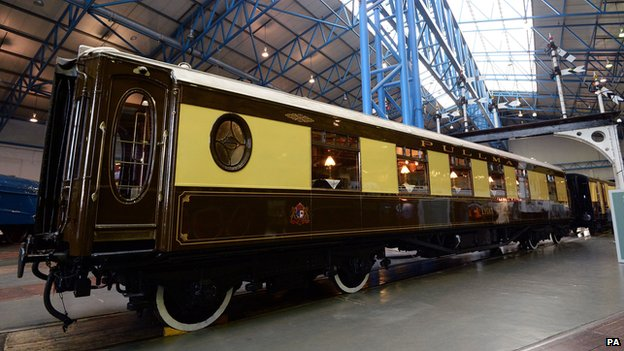 Pullman carriage which carried the family members of Winston Churchill to his funeral goes on display at the National Railway Museum, York,