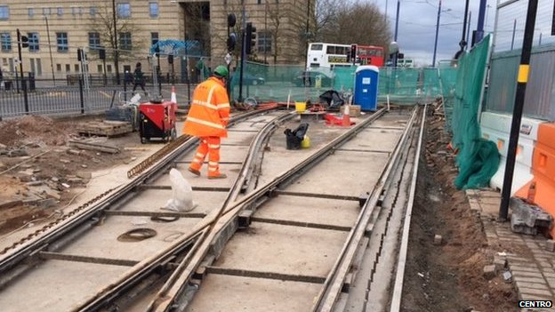 Bbc News Wolverhampton Tram Line Work Over Old Mine Resumes