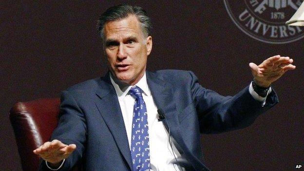 Former GOP presidential candidate Mitt Romney answers a question after his lecture to the student body and guests at Mississippi State University in Starkville, Mississippi