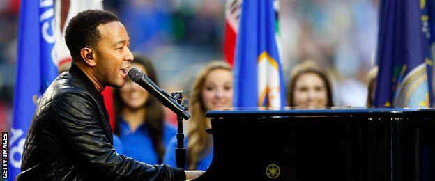 John Legend performed before kick-off in the Super Bowl