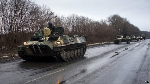 A column of Ukrainian armoured vehicles heads to Debaltseve, (1 Feb)