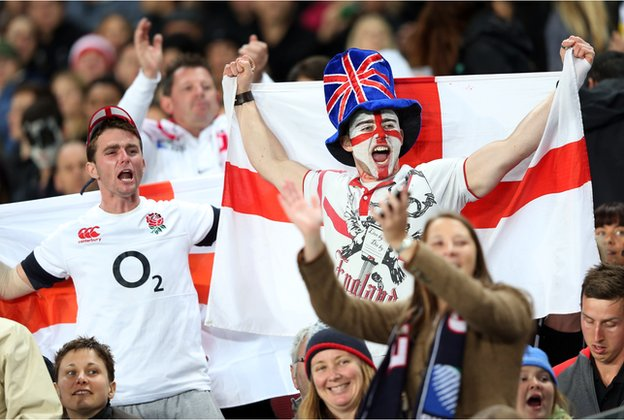 Fans during a rugby union match between the New Zealand All Blacks and England at Eden Park in Auckland on June 7, 2014