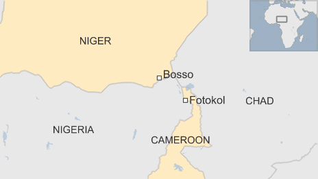 A map showing Bosso, in Niger