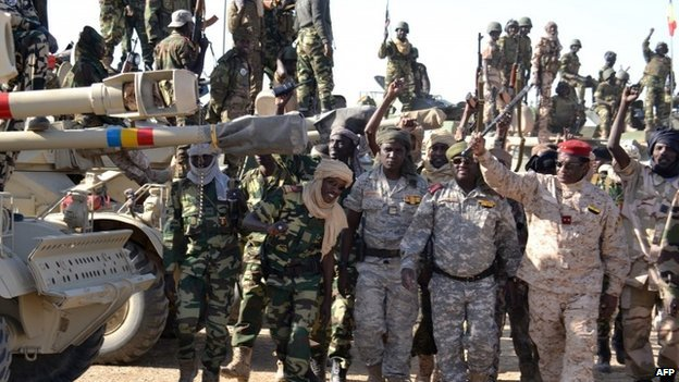 Chadian soldiers near the Nigerian town of Gamboru on 1 February 2015