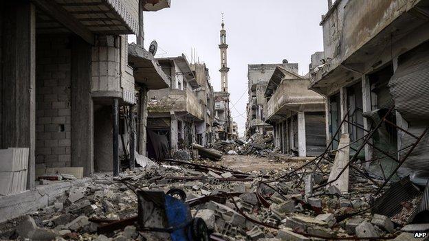 Street in eastern Kobane