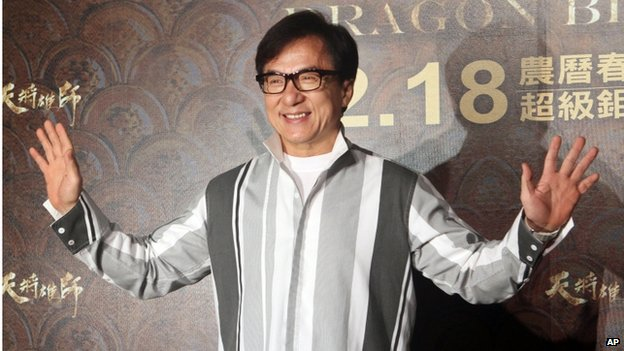 "Hong Kong actor Jackie Chan poses for photo call during an event to promote his new movie ""Dragon Blade"" in Taipei, Taiwan, Thursday, 12 February 2015"
