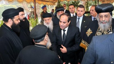 President Sisi arrives at St Mark's Cathedral in Cairo. 16 Feb 2015