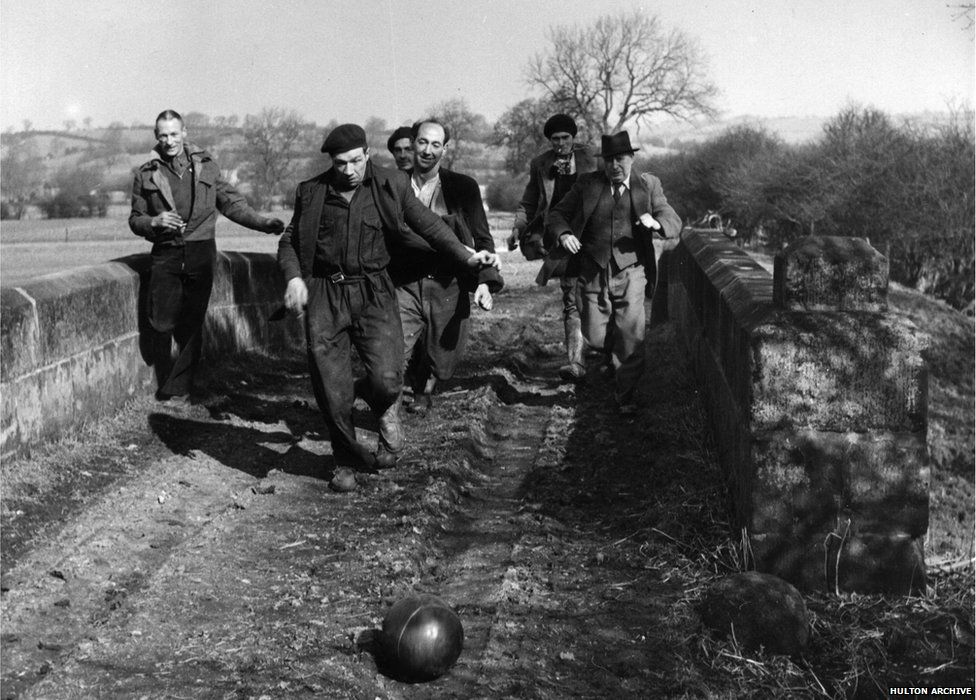 March 1952: The annual Shrovetide football match in Ashbourne, Derbyshire, which has few rules.