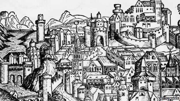 1493, A view of London from the Nuremberg Chronicle