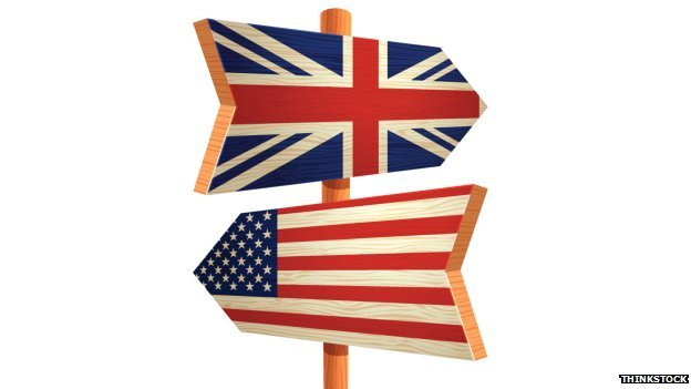 Signposts showing the US and UK flags