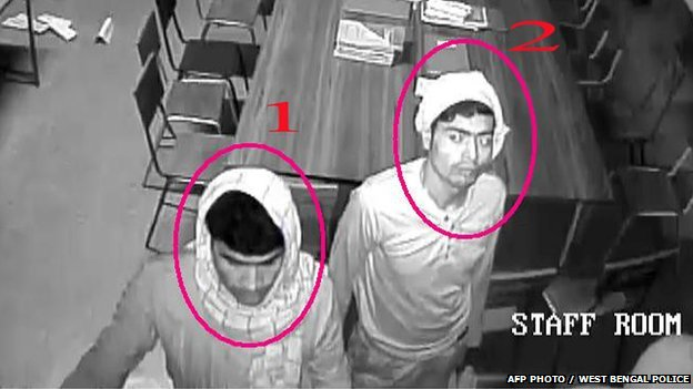CCTV footage of two men in the Convent of Jesus and Mary in Ranaghat 15 Marchg 2015