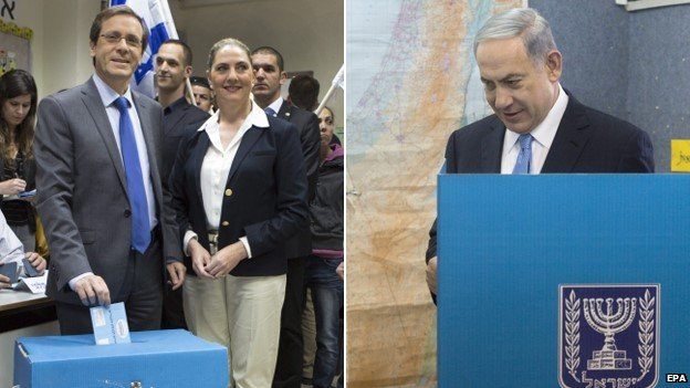 Yitzhak Herzog (l) and PM Benjamin Netanyahu (r) casting votes, 17 March 2015
