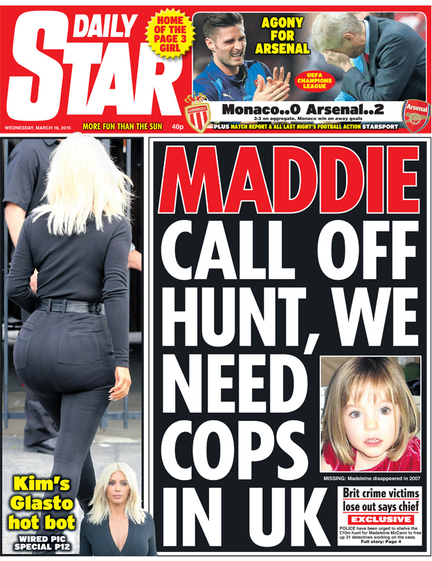 Daily Star front page, 18/3/15