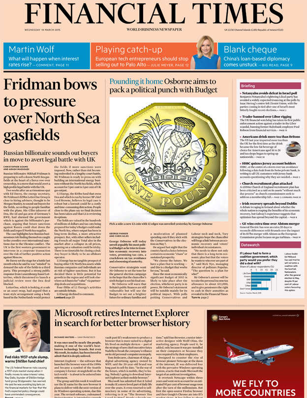 Financial Times front page, 18/3/15