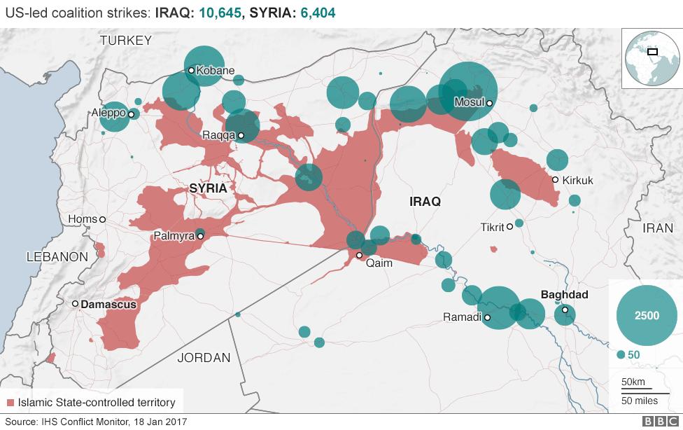 Χάρτης της Συρίας και του Ιράκ δείχνει ΕΙΝΑΙ τομέα του ελέγχου.