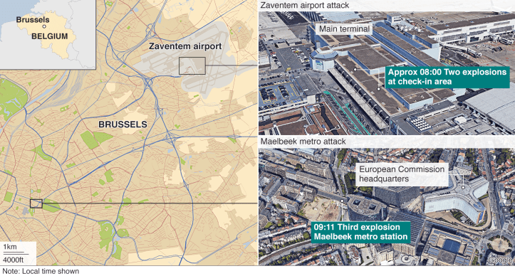 Map showing where the Brussels attacks took place