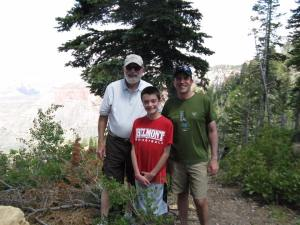 (L to R) Dr. Awalt with his grandson, Ethan, and son, Brad. Photo provided by Brad Awalt.