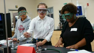 Students participate in Chemistry Day.