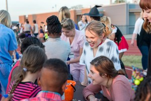 Belmont students celebrate Halloween with local, neighborhood children.