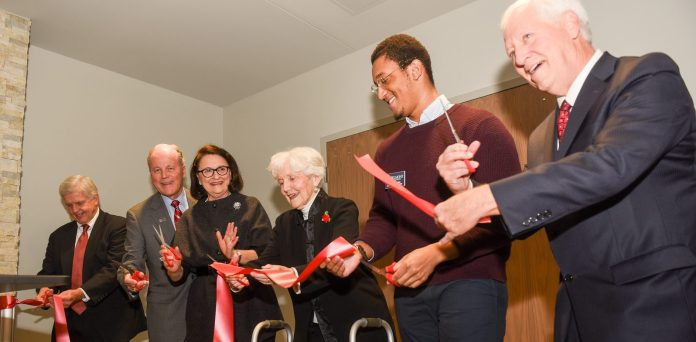 Ribbon cutting at the grand reopening celebration for the Gabhart Student Center