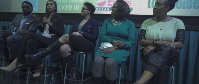 A panel speak after a showing of Hidden Figures