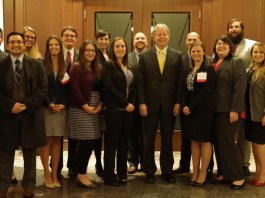 Members of the Belmont Law Review with Supreme Court Justice Roger Page