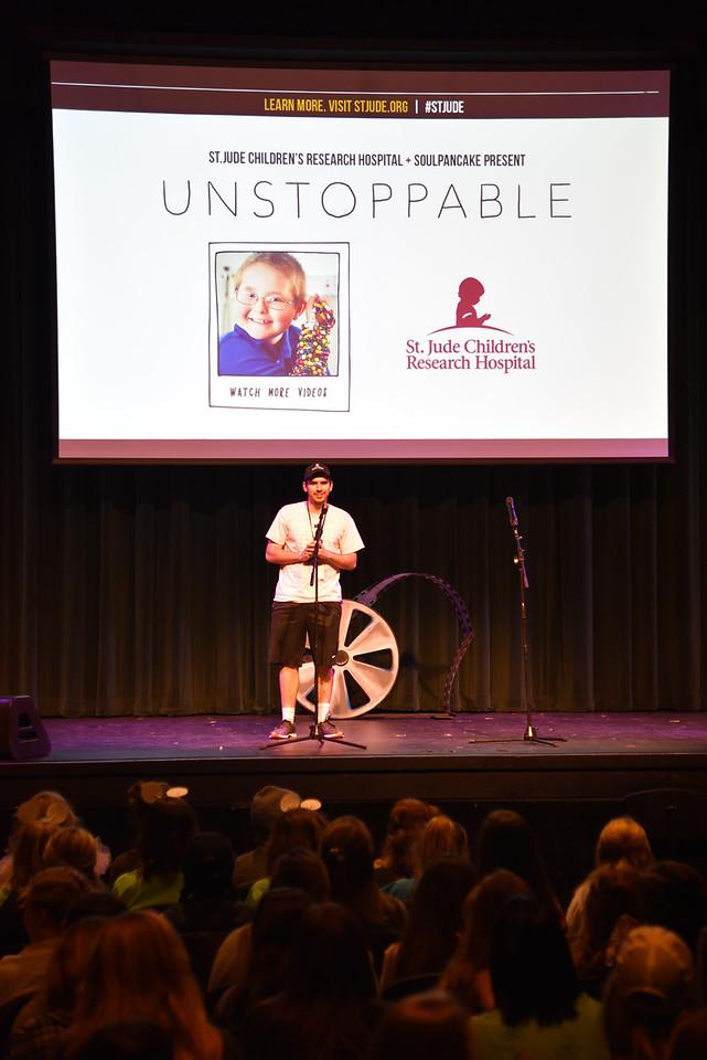 LaMartina speaks at the 2017 Up 'Til Dawn event
