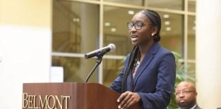 Shania Jones takes over as SGA President at Belmont University in Nashville, Tenn. April 24, 2017.