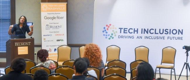 Dr. Syb Brown speaks at Tech Inclusion Nashville Forum at Belmont University in Nashville, Tenn. August 29, 2017.