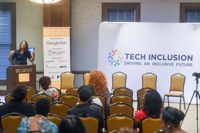 Dr. Syb Brown speaks at Tech Inclusion Nashville Forum at Belmont University in Nashville, Tenn. August 29, 2017.