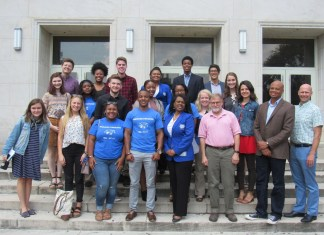 Conference Attendees in front of a building on TSU's campus