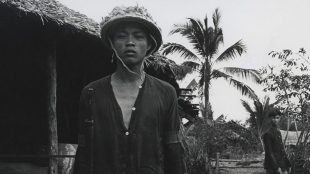 Vietnamese man, black and white