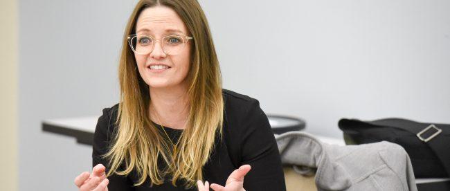 Journalist Kristin Roberts, executive editor of McClatchy Washington, speaks at Belmont University in Nashville, Tennessee, January 22, 2018.