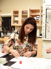 Lemus works on her research in one of Belmont University's labs