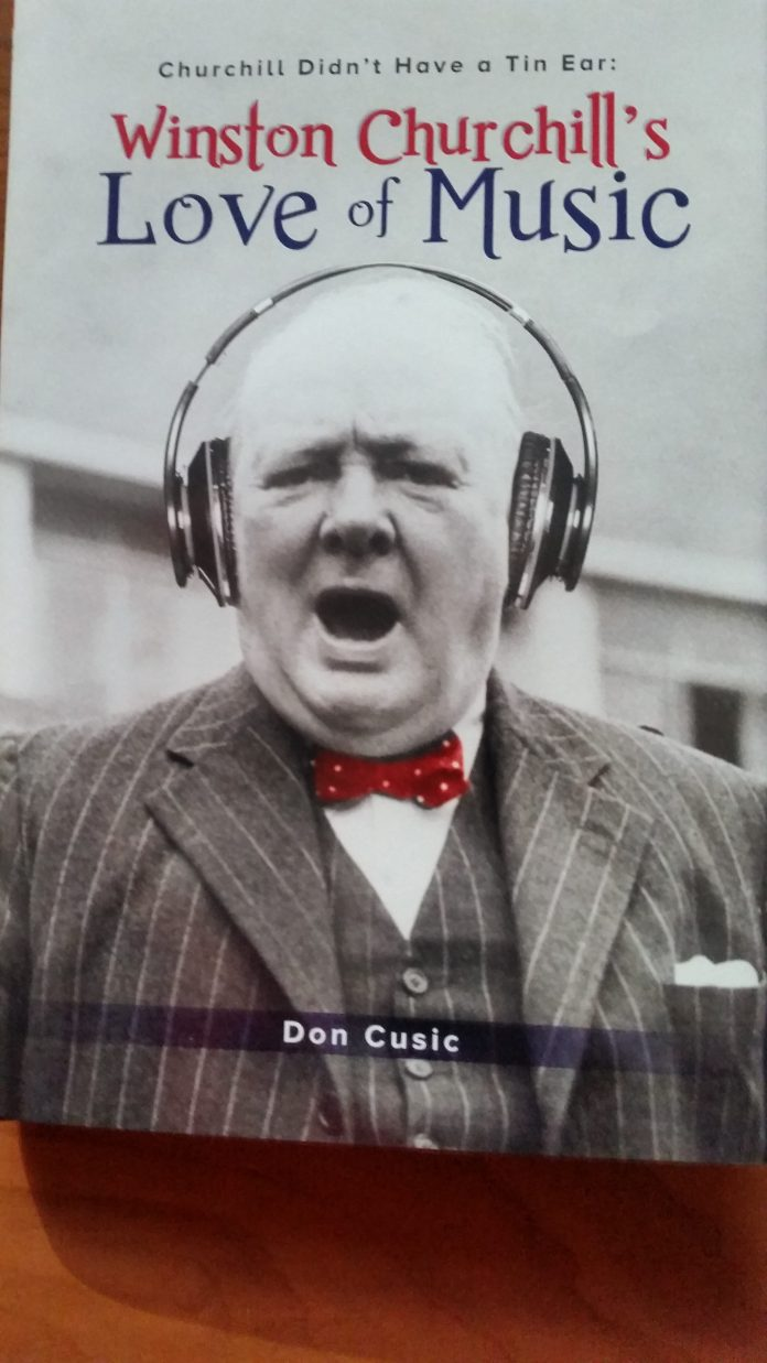 book cover, picture of Winston Churchill wearing headphones