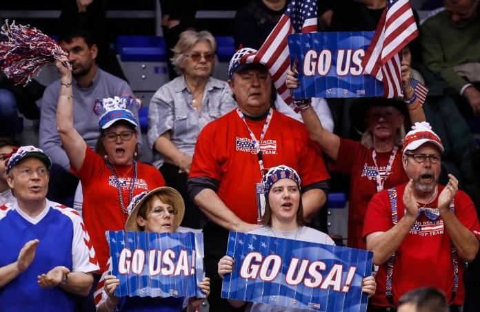 Tennis Tenis Davis Cup First Round.Srbija v USA.Dusan Lajovic v John Isner.USA fans give their support.Nis, 02.02.2018 foto: Srdjan Stevanovic/Starsportphoto ©
