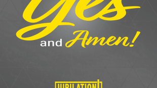 "cover of choral book, reads ""Yes and Amen"""