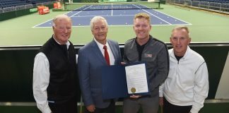 Davis Cup panel including Jim Courier at Belmont University Nashville, Tennessee, April 2, 2018.
