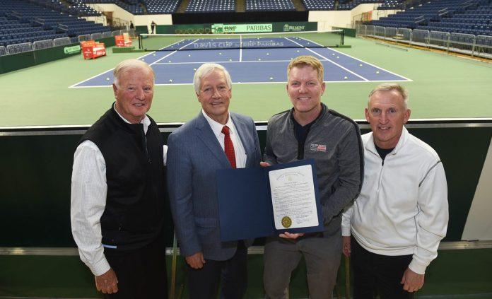 Davis Cup panel including Jim Courier at Belmont University Nashville, Tennessee, April 2, 2018.
