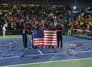 USA's Jack Sock and Ryan Harrison beat Belgian's Sander Gille and Joran Vliegen 5-7, 7-6 (1), 7-6 (3), 6-4 in the Curb Event Center at Belmont University in Nashville, Tennessee, April 7, 2018.