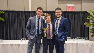 Students Jordan Dunn, Tee Gildemeister and Andrew Hughes, winners in the NBC Universal Analytics Challenge