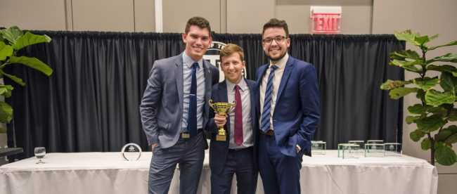Students Jordan Dunn, Tee Gildemeister and Andrew Hughes, winners in the NBC Universal Analytics Challenge