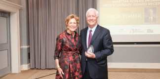 Martha Ingram presents award to Bob Fisher
