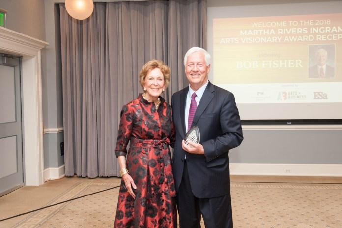 Martha Ingram presents award to Bob Fisher
