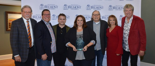 Pictured (l-r) are Curb College of Entertainment and Music Business Dean Doug Howard, Universal Music Publishing Group Nashville Executive Vice President/General Manager Kent Earls, Atlantic Records recording artist Hunter Hayes, Cyndi Forman, Patrick Joseph Music President Pat Higdon, ASCAP Senior Director of Strategic Services Kele Currier and Curb College Instructor of Music Business Dan Keen.